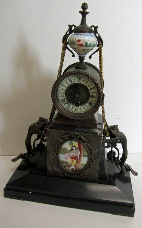 20th C. Bronze And Porcelain Mantle Clock