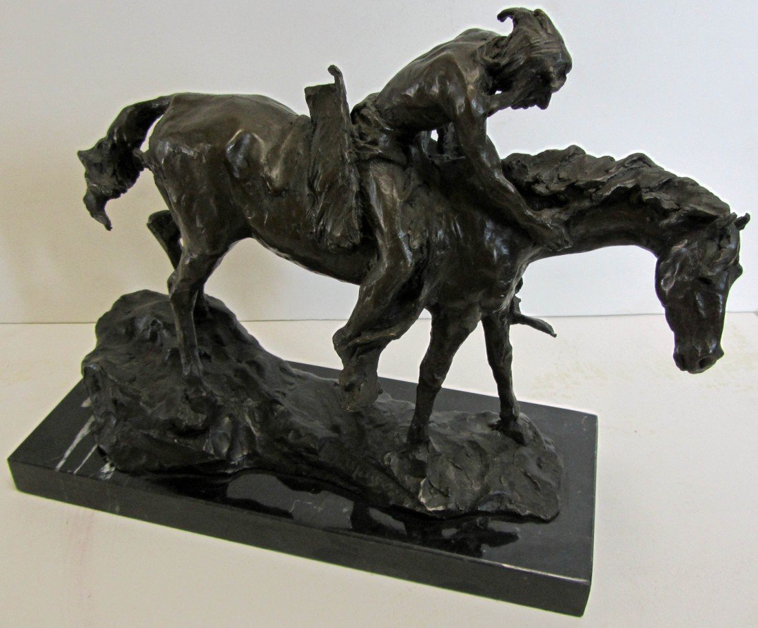 98: 20th C. Bronze of Indian on horseback
