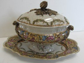 20th C. Porcelain Tureen With Bronze Mounts