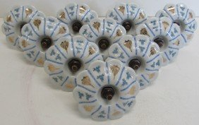 Set Of 10 20th C. Porcelain Tie Backs