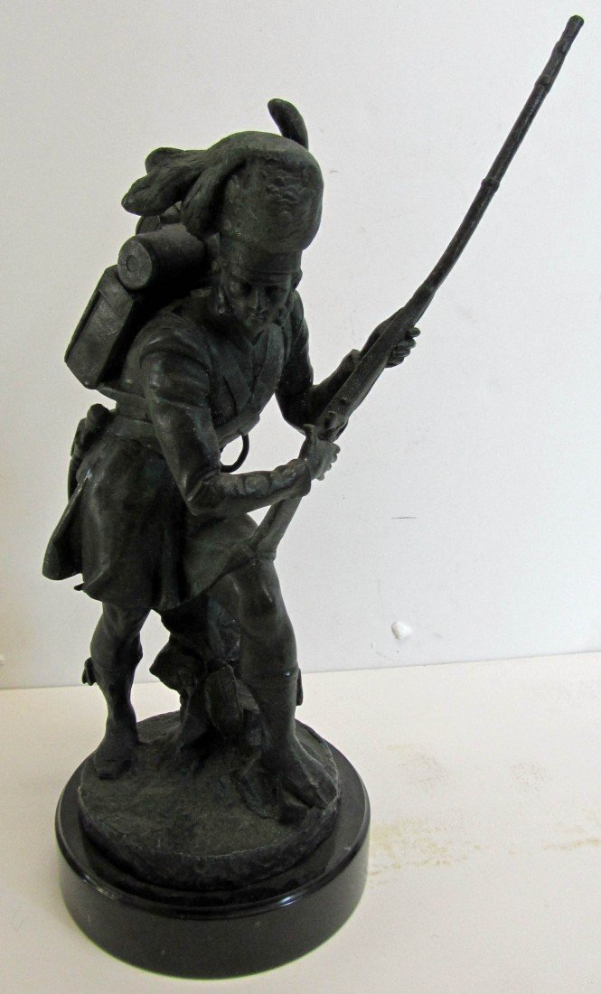 110: 20th C. Bronze of Soldier on marble base