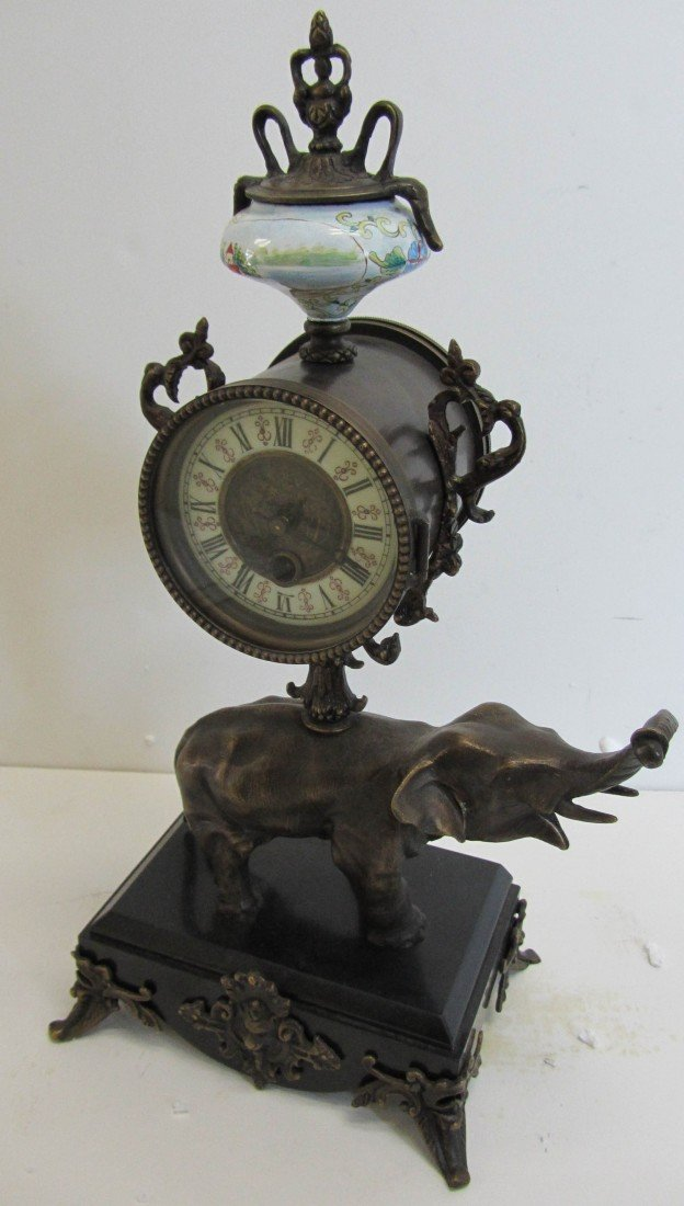 113: 20th C. Bronze mantle clock with elephant