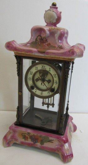20th C. Royal Bonn Style Crystal Regulator Clock
