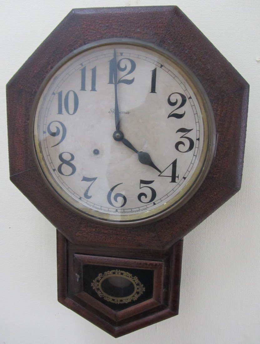 4: C1900 Oak Ansonia Schoolhouse clock