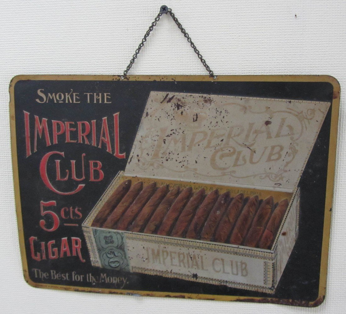 5: C1900 Imperial Cigar tin advertising sign
