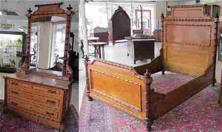 9: 19th C. Faux Bamboo 2 piece marbletop bedroom set