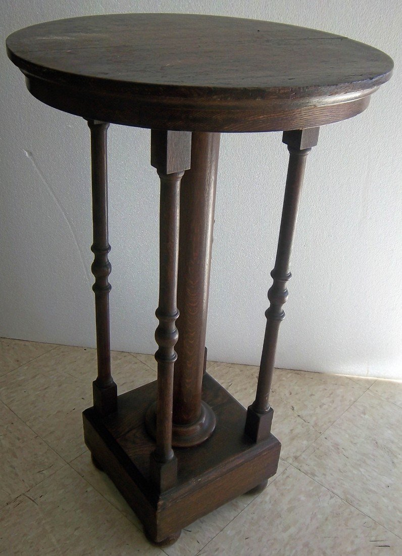 12: C1890 American quartersawn oak pedestal