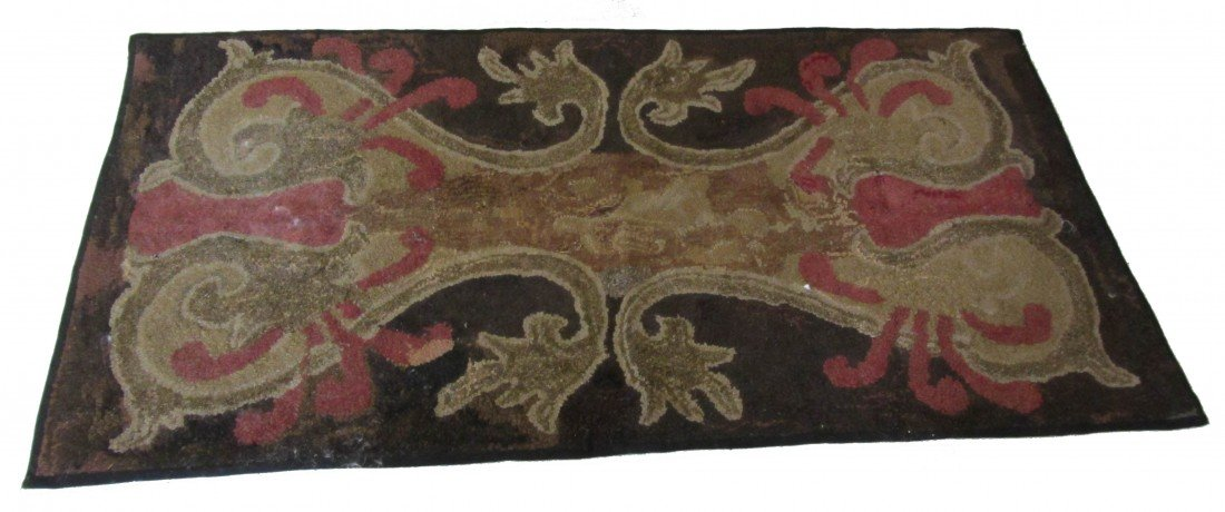 13: Ea. 19th C. folk art hooked rug with cat heads