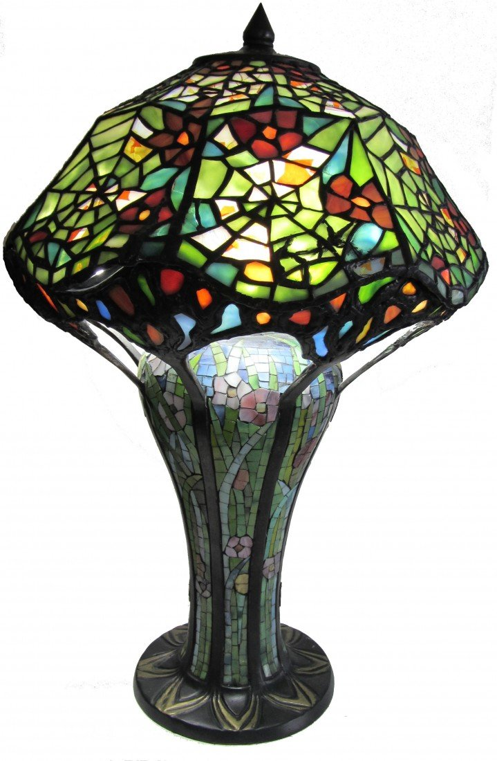 15: 20th C. Leaded glass Dale Tiffany Cobweb lamp
