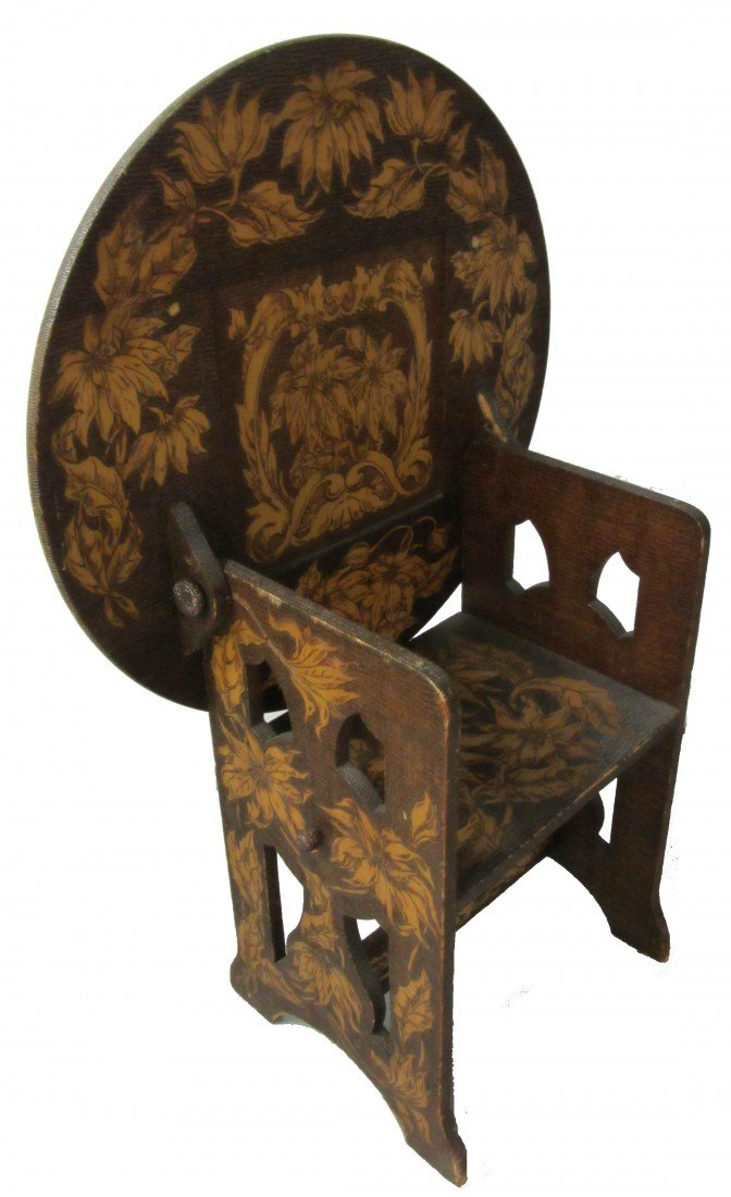 16: 19th C. Flemish burnt wood art hutch chair