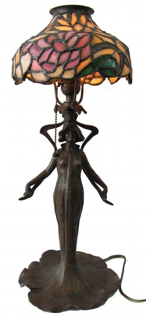 19: C1910 Figural Art Nouveau lamp with leaded shade