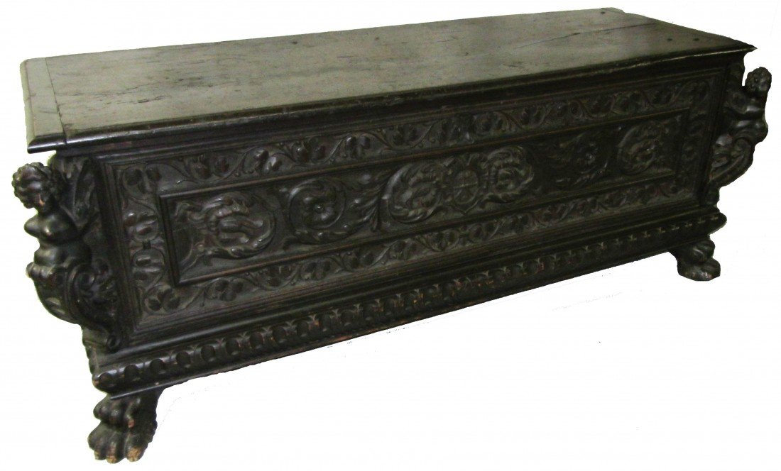 131: Ea. 18th C. carved walnut italian cassone