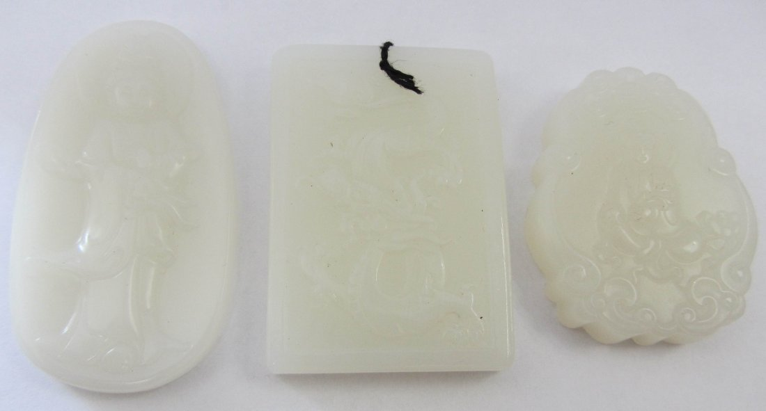 1: Set of 3 White Jade pendants