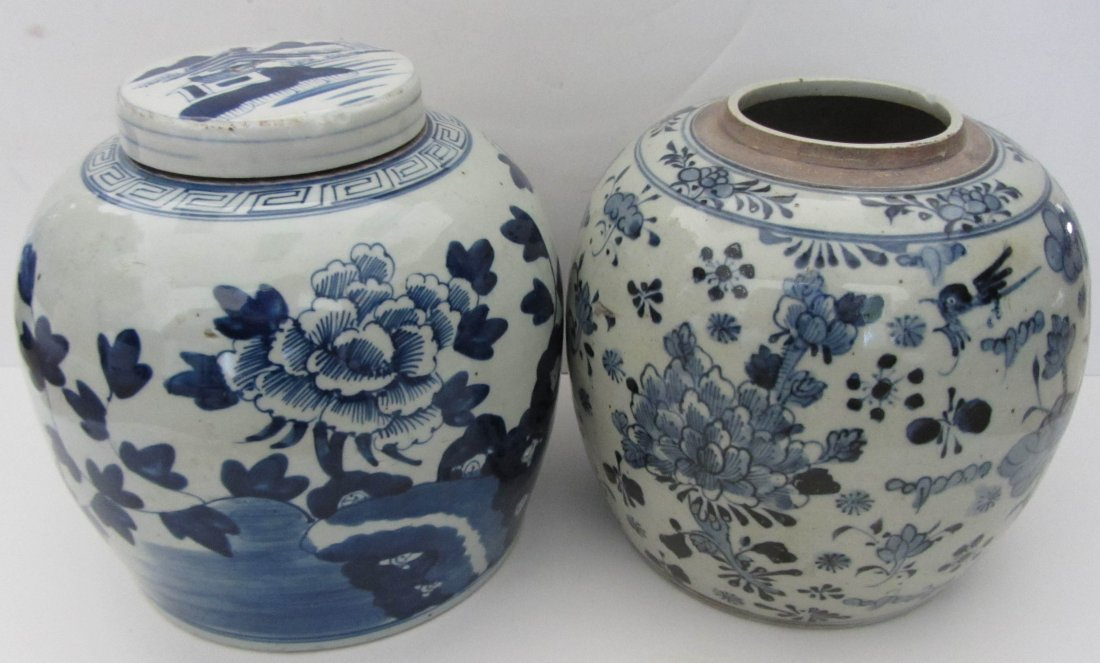 11: Pair of Antique Blue and white porcelain jars