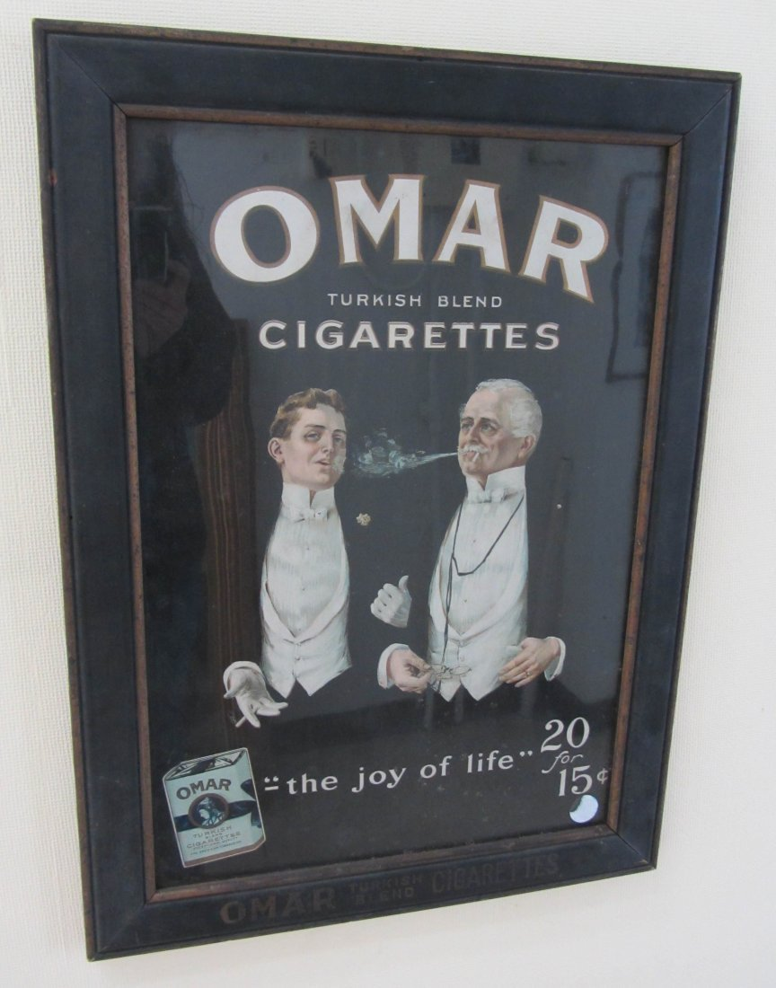 13: C1900 reverse painted Omar Cigarette ad sign