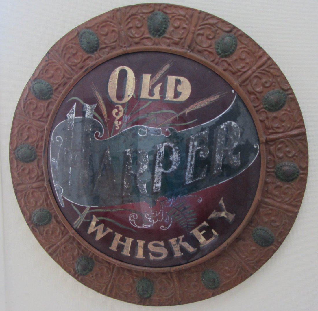 14: Rare C1900 reverse painted Whiskey Ad sign