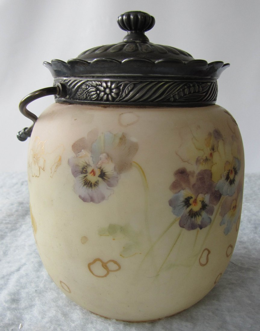 19: 19th C. Wavecrest and silverplate biscuit jar