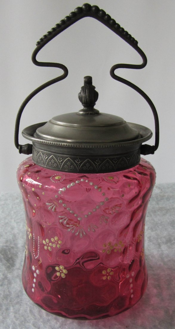 20: C1900 Cranberry biscuit jar with silverplate top