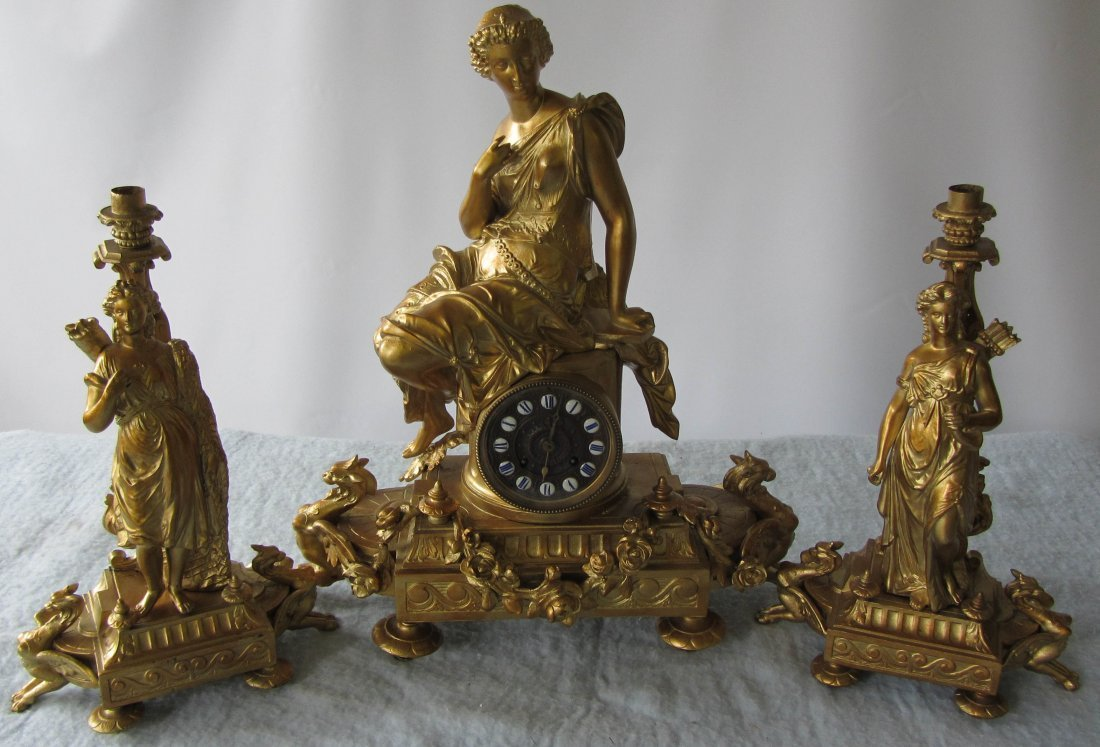 21: 19th C. Spelter 3 piece clock set