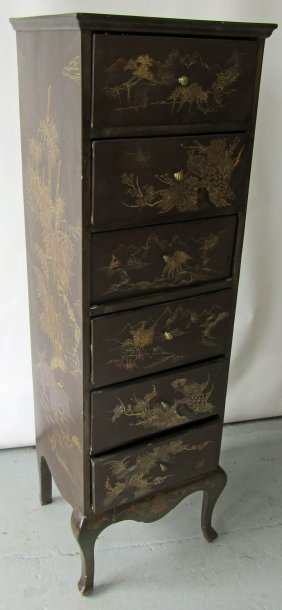 Ea. 20th C. Chinoiserie 6 Drawer Chest