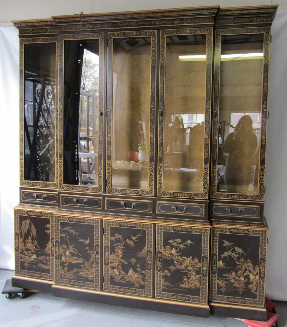 50: Large 20th C. Chinoiserie breakfront