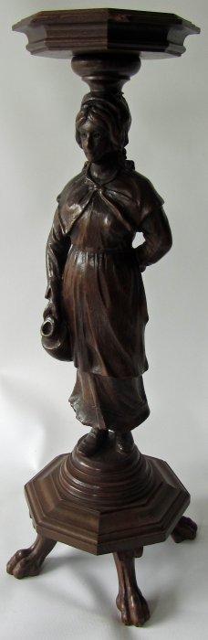 Victorian Walnut Figural Pedestal Attrib. Karpen