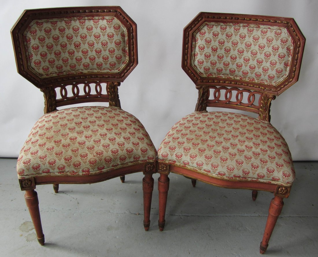 57: Pr. 19th C. Italian paint decorated sidechairs