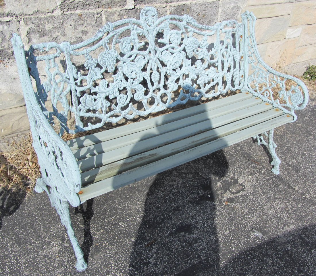 65: Pair of 20th C. fancy exterior garden benches