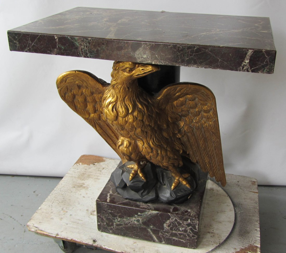 98: Marble and gilt carved wood console with eagle