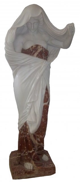 Lifesize Multi-color Carrara Marble Statue Of Wom