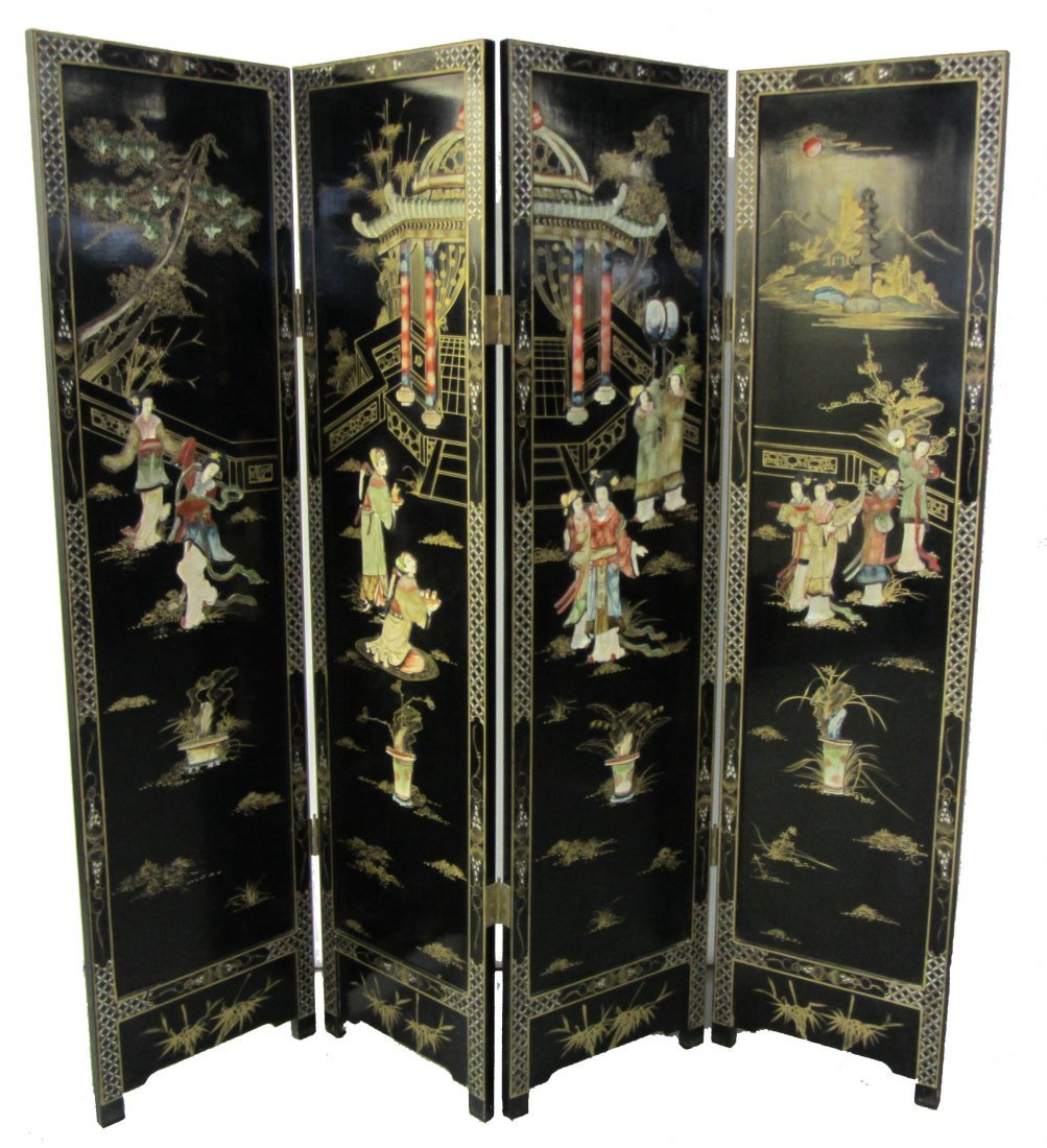 113: Ea. 20th C. 4 panel Chinese screen