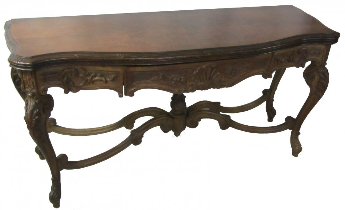 144: 19th C. walnut detail carved sofa table