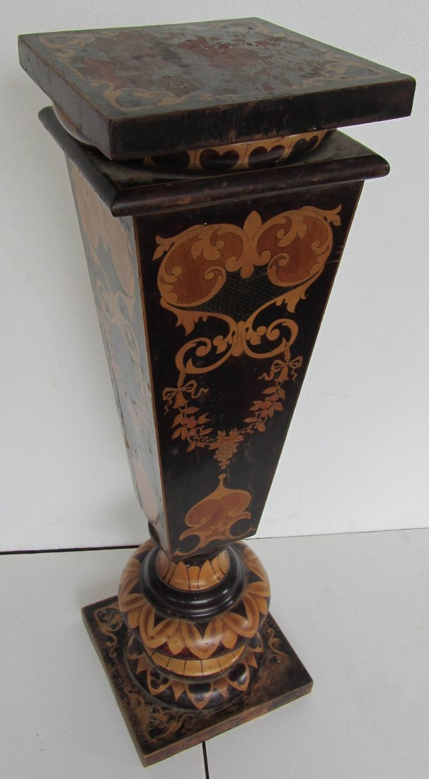 59: 19th C. Ren. Vic. Mahogany inlaid pedestal