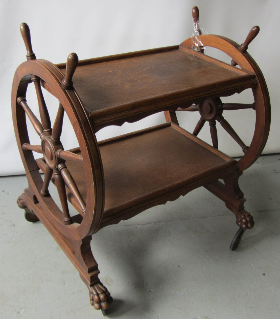 68: C1890 American quartersawn oak tea cart