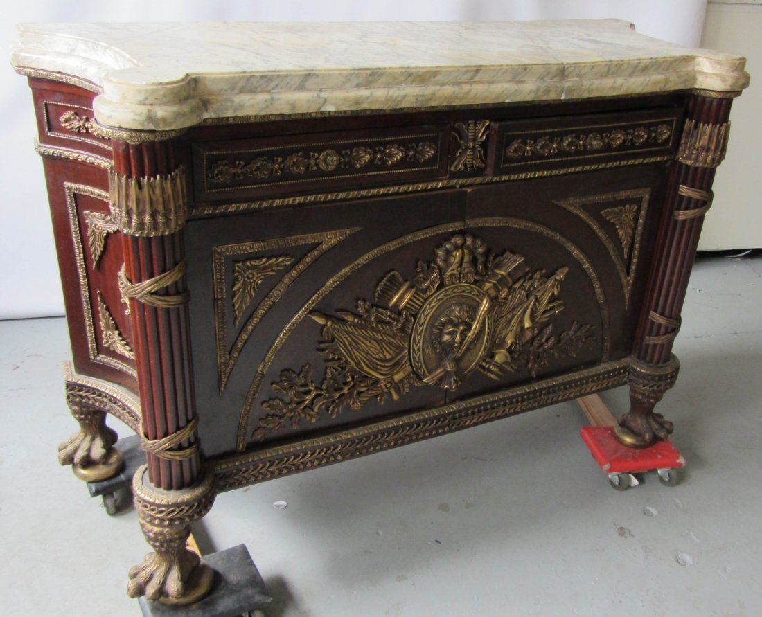 74: 20th C. bronze mounted marbletop commode