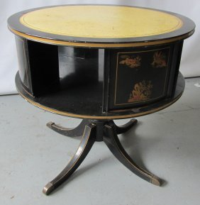 Ea. 20th C. Chinosere Leather Top Swivel Table