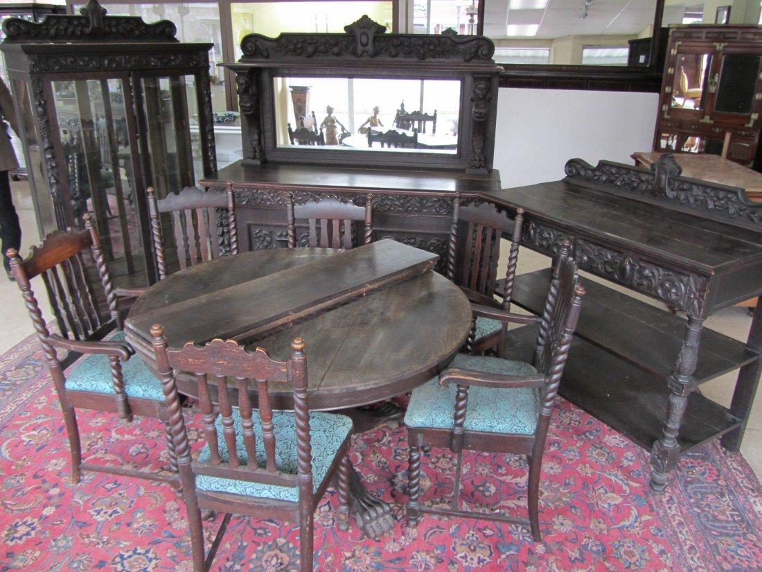 94: C1890 Am. quartersawn oak 10pc. diningroom set