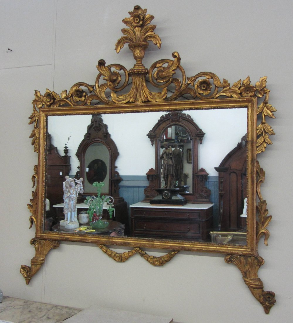 78: C1900 detail carved giltwood mirror