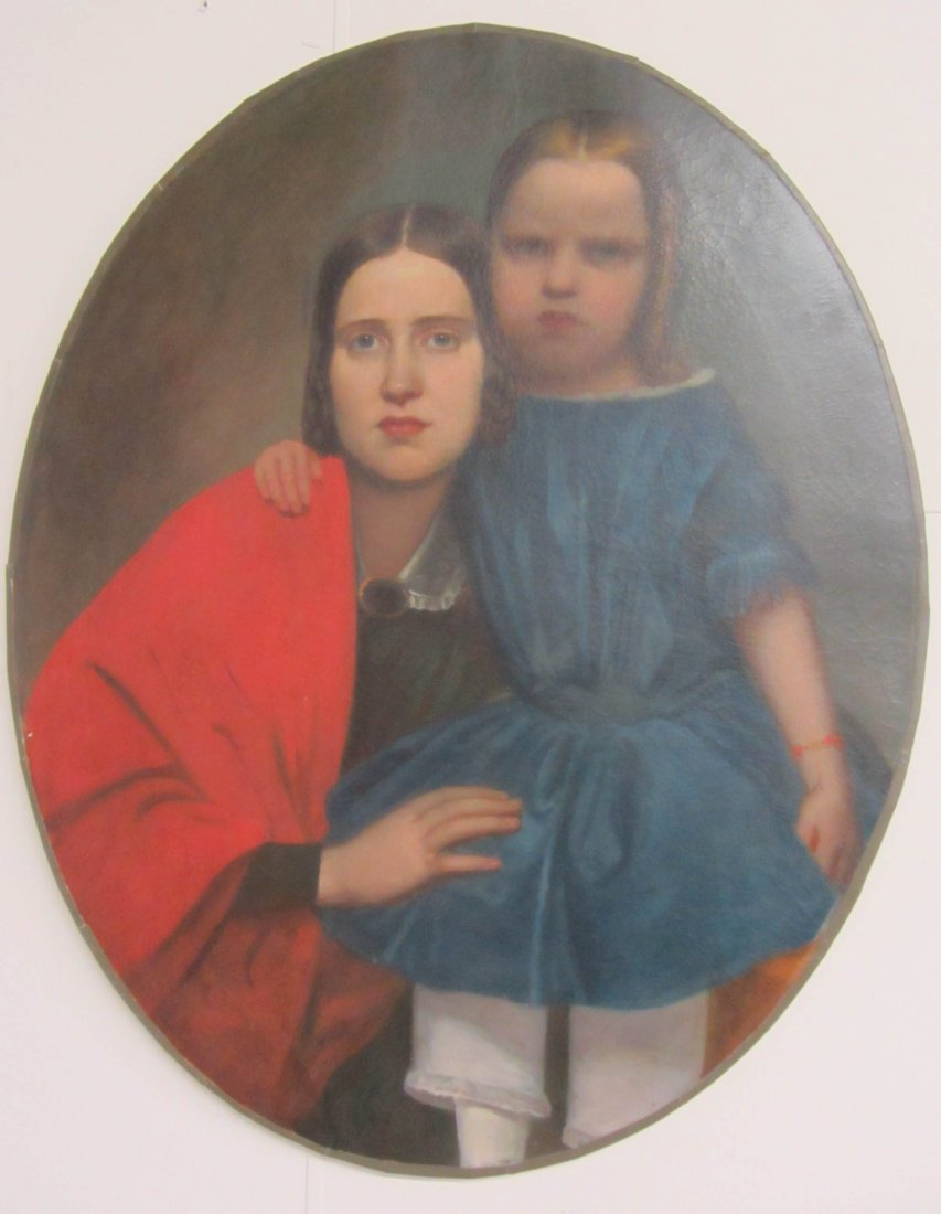 79: 19th C. Oil on canvas of mother and child