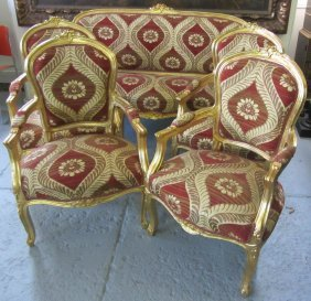 Ea. 20th C. 5 Piece French Style Gilt Parlor Set