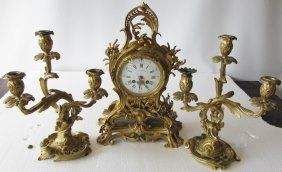 19th C 3 Piece Signed Tiffany & Company Clock Set