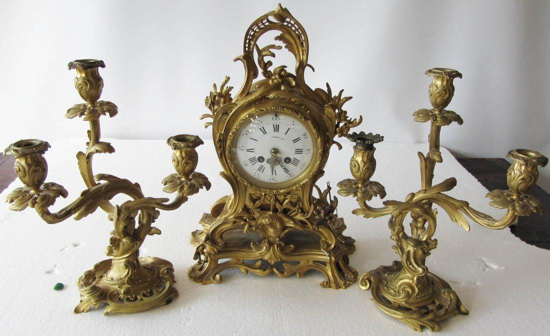 88: 19th C 3 piece signed Tiffany & Company clock set