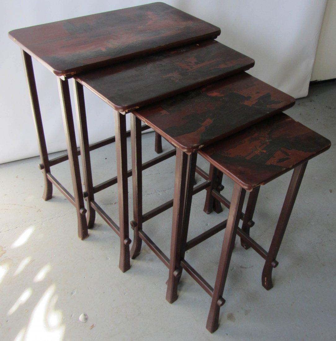 90: 4 Art Nouveau style Chinoiserie nesting tables