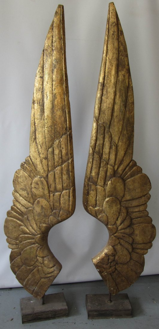 106: Pr. detail carved wood decorative wings