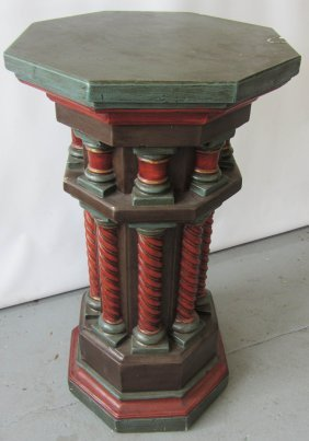19th C. Paint Decorated Gothic Style Pedestal