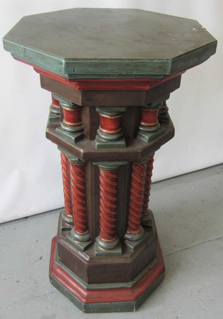 107: 19th C. paint decorated gothic style pedestal