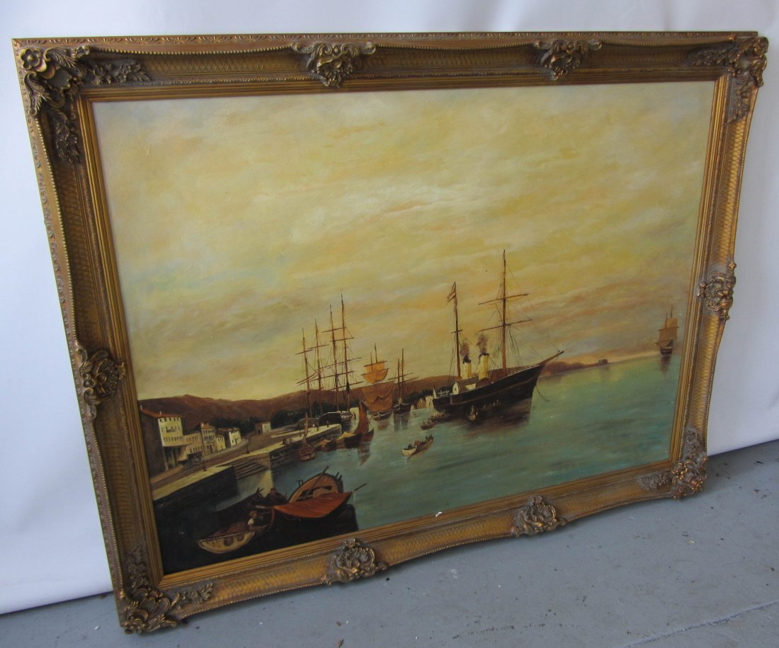 111: Large Harbor scene painting