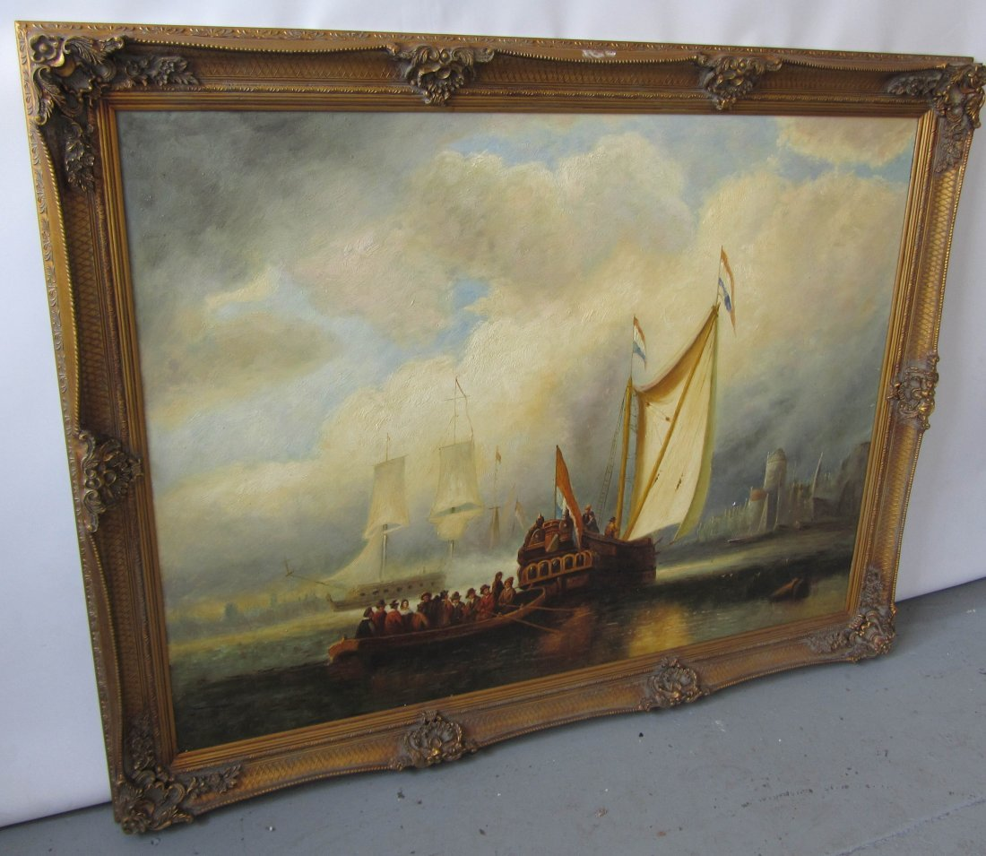 112: Large Harbor scene painting