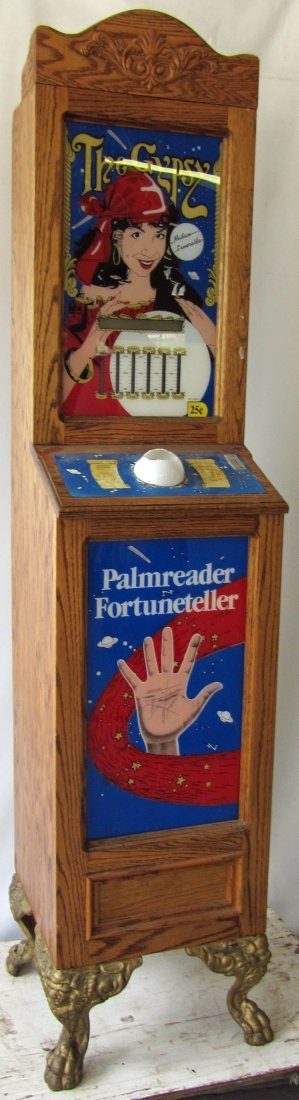 117: Quartersawn oak coin operated fortune teller
