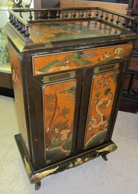 19th C. Chinoisere Paint Decorated Cupboard
